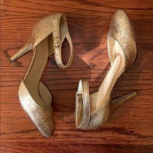 J. Crew Gold Glitter High Heels